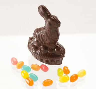 Solid Dark Chocolate Bunny in a Basket