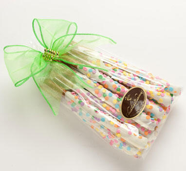 One Dozen Dipped Pretzel Rods - White or Dark Chocolate - Confetti