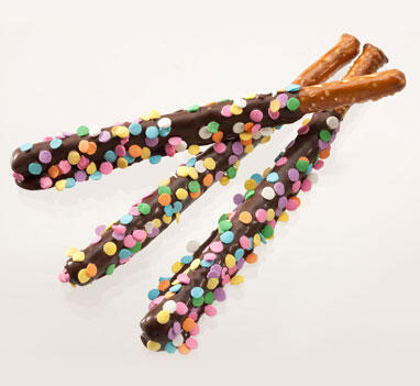 3 Pack Pretzel Rods - Confetti - Dark Chocolate